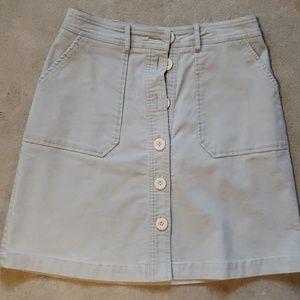 Boden grey corduroy button up skirt sz 6R